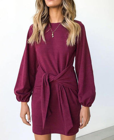 Long Sleeve Solid Color Belted Dress-2
