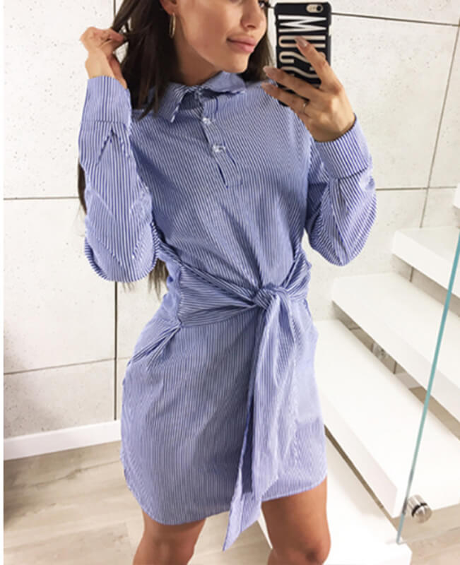 Long Sleeve Tie Striped Shirt Dress-1