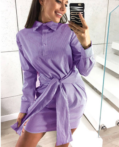 Long Sleeve Tie Striped Shirt Dress-3