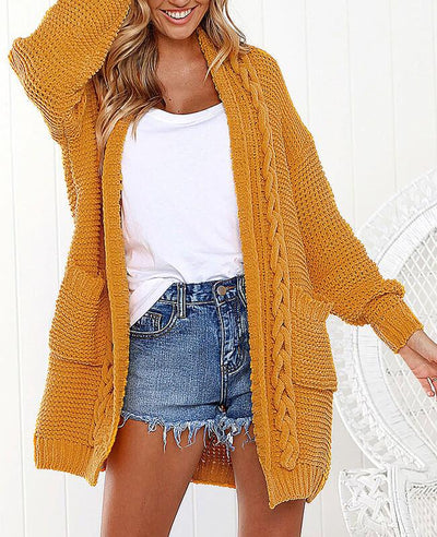 Oversized Cable Knit Cardigan Sweater-3