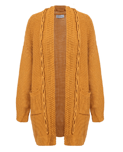 Oversized Cable Knit Cardigan Sweater-5