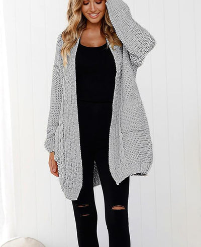 Oversized Cable Knit Cardigan Sweater-2