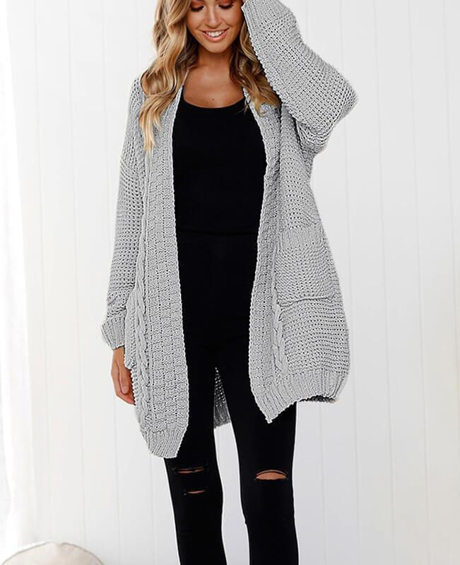 Oversized Cable Knit Cardigan Sweater-1