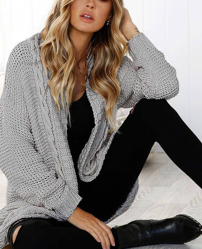 Oversized Cable Knit Cardigan Sweater-4
