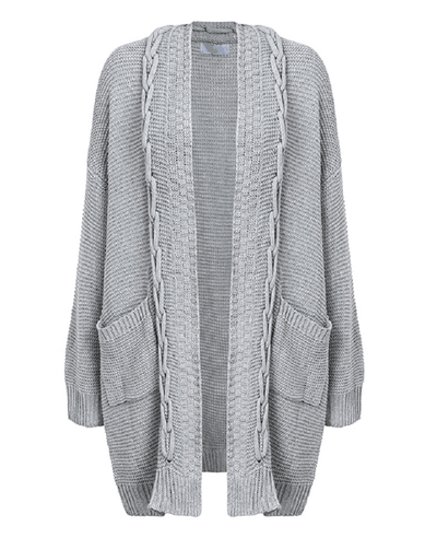 Oversized Cable Knit Cardigan Sweater-6