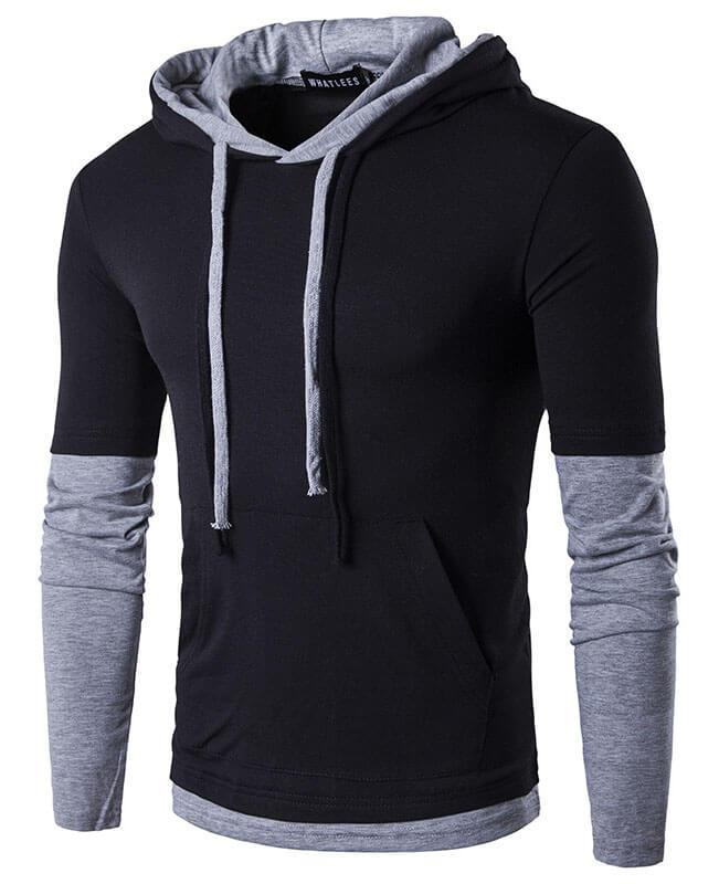 Patchwork Mens Long Sleeve T-Shirts
