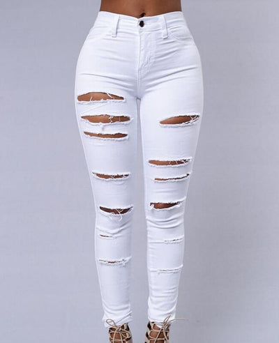 Pencil Pants Ripped Skinny Jeans-2