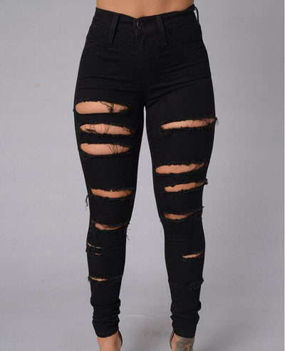 Pencil Pants Ripped Skinny Jeans-1