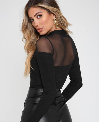 Perspective Mesh Long Sleeve Romper