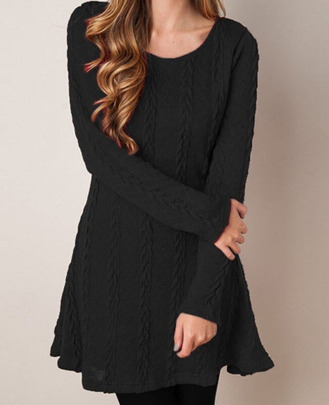 Round Neck Cable Knitted Dress