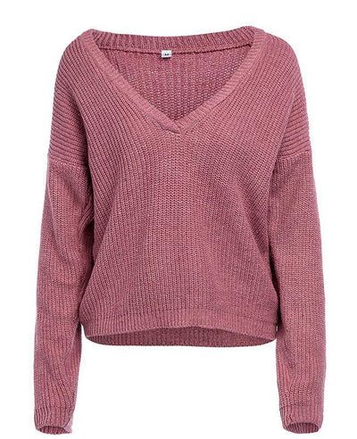 Solid Color Deep V Neck Sweater