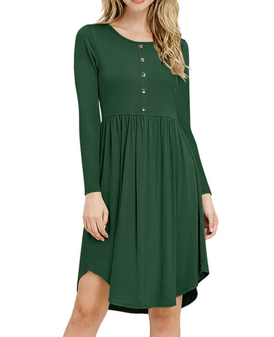 Solid Color Long Sleeve Casual Dresses-1
