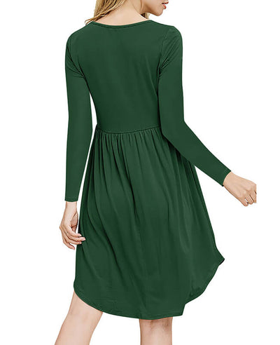 Solid Color Long Sleeve Casual Dresses-7