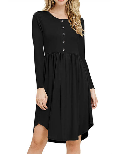 Solid Color Long Sleeve Casual Dresses-2