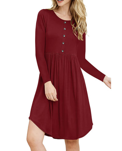 Solid Color Long Sleeve Casual Dresses-3