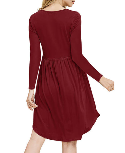 Solid Color Long Sleeve Casual Dresses-8