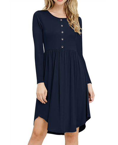 Solid Color Long Sleeve Casual Dresses-4