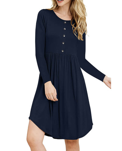 Solid Color Long Sleeve Casual Dresses-6