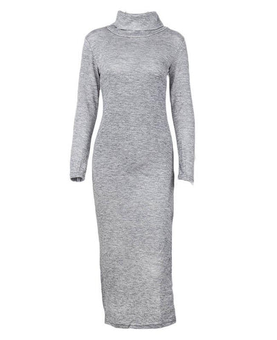 Split Turtleneck Bodycon Maxi Dress