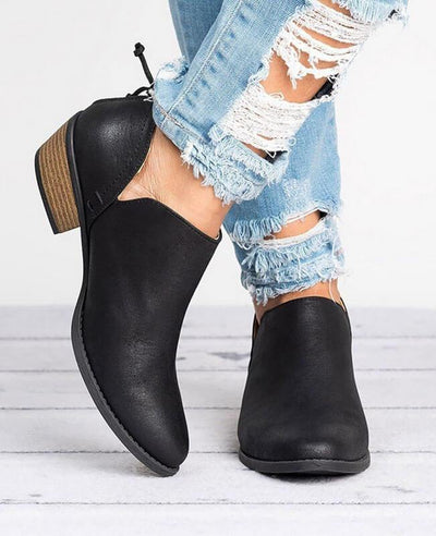 Square Heel Pointed Toe Chunky Boots-1