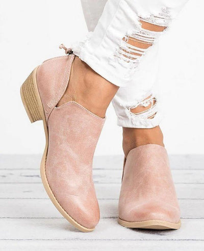 Square Heel Pointed Toe Chunky Boots-2