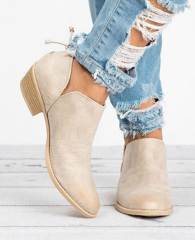 Square Heel Pointed Toe Chunky Boots-3