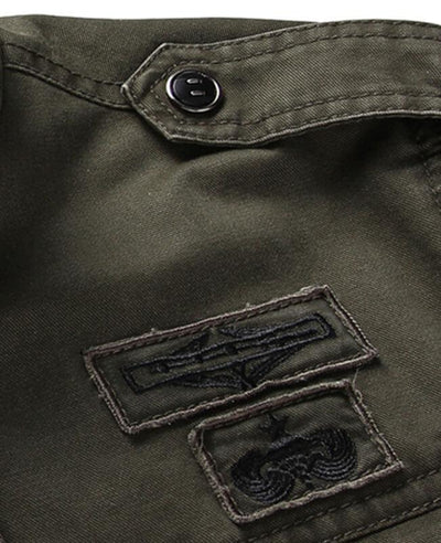 Stand Collar Washed Cotton Army Jacket