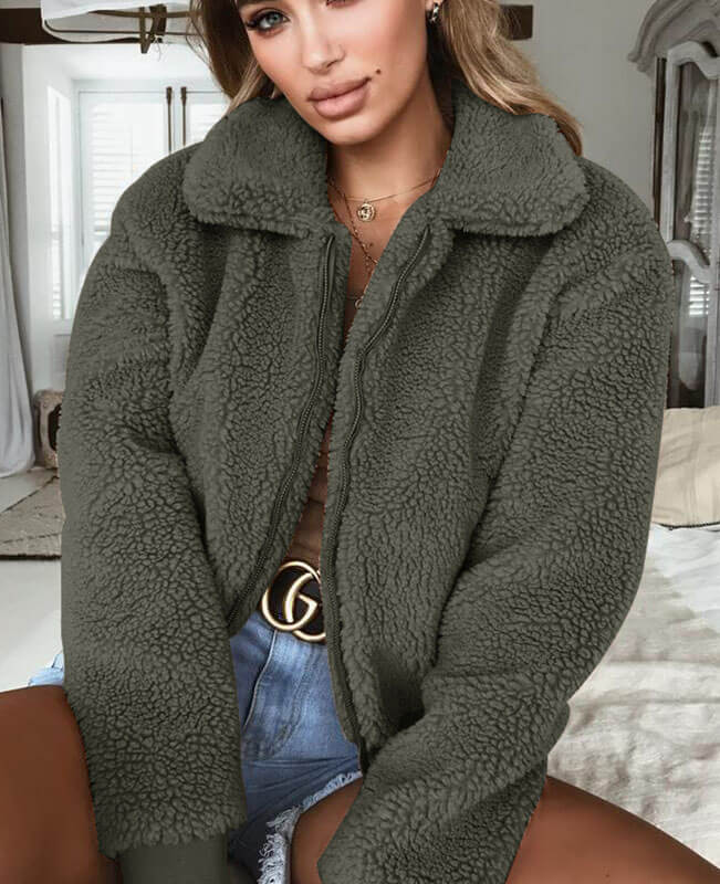 Teddy Bear Zip Up Fluffy Coat-1