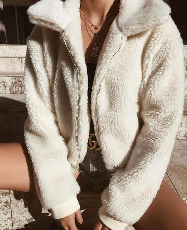 Teddy Bear Coat for Womens Warm Faux Shearling Jacket