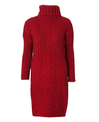 Turtleneck Long Knit Sweater Dress