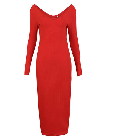 V-Neck Long Sleeve Knitted Midi Dress