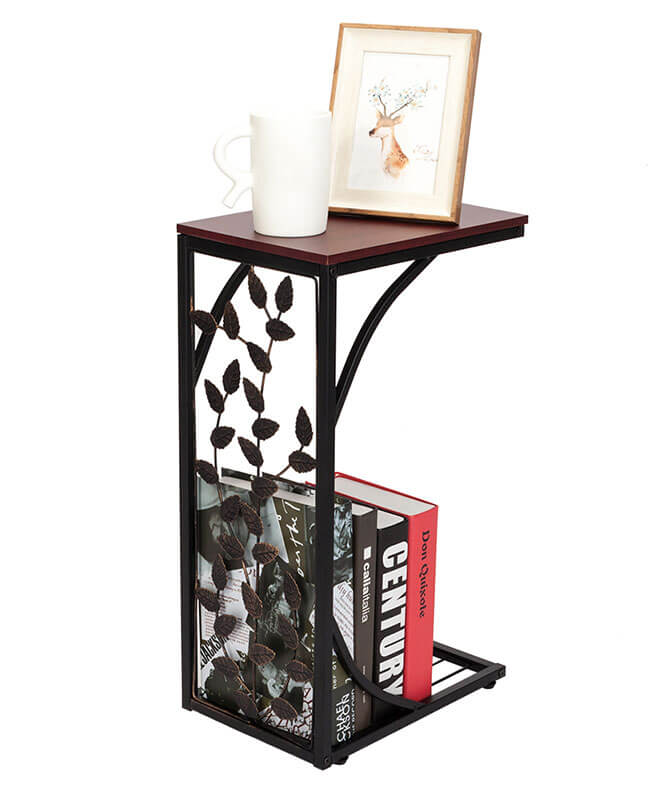 C Shaped Side Table Leaf Pattern Coffee Drink Table