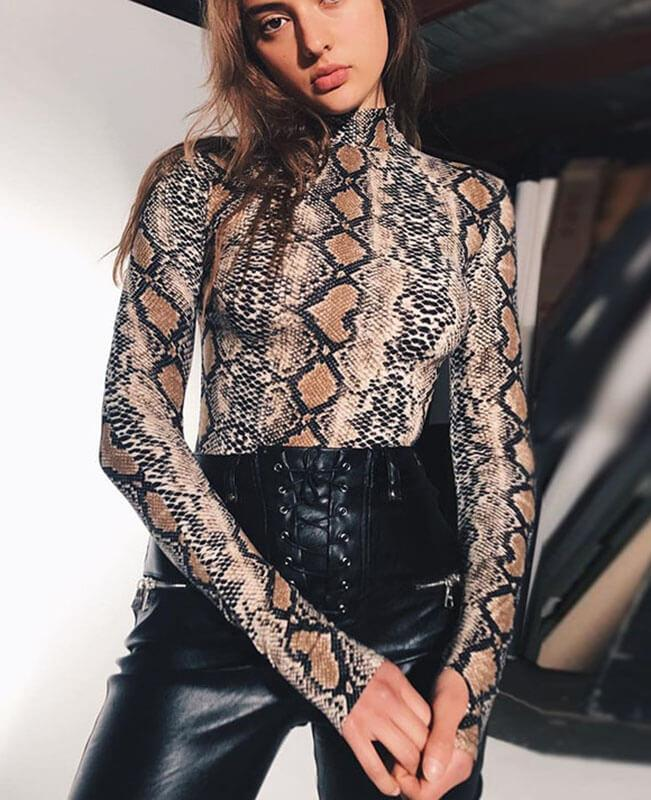 Snake Skin Sexy Club Jumpsuits-1