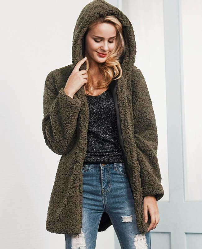 Solid Color Thick Fur Hooded Jacket-1