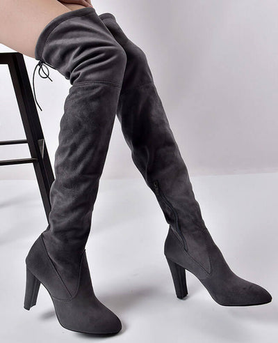 Thigh High Over the Knee Suede Boots-4