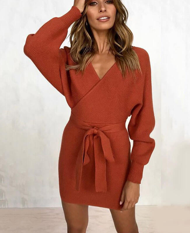 V-neck Backless Knit Sweater Dress-1