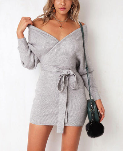 V-neck Backless Knit Sweater Dress-5