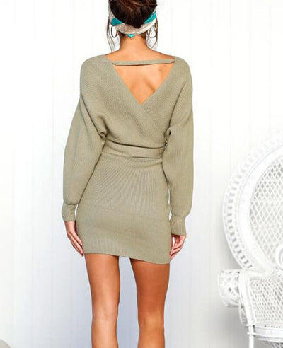 V-neck Backless Knit Sweater Dress-7