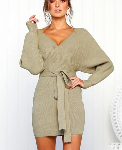 V-neck Backless Knit Sweater Dress-3