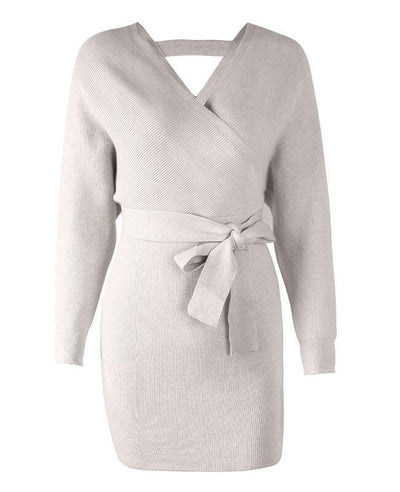 V-neck Backless Knit Sweater Dress-9