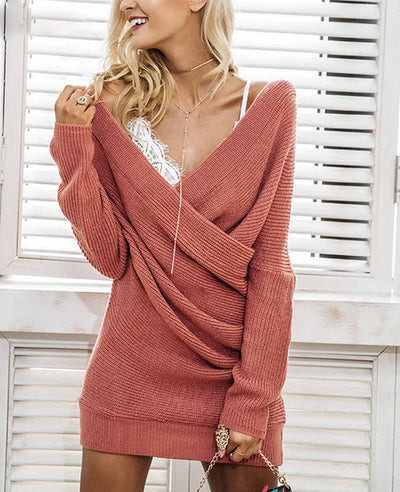 V-neck Long Sleeve Knit Dress-1