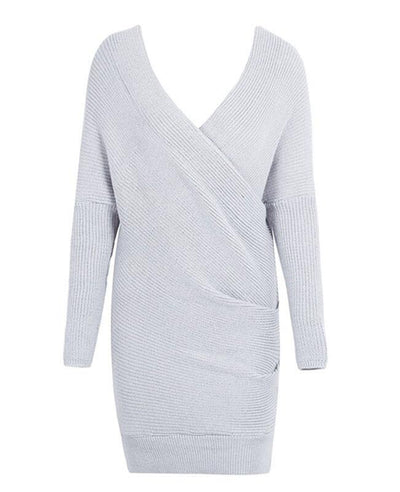 V-neck Long Sleeve Knit Dress-3