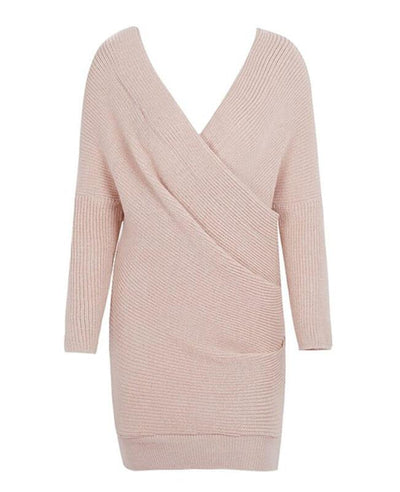 V-neck Long Sleeve Knit Dress-7