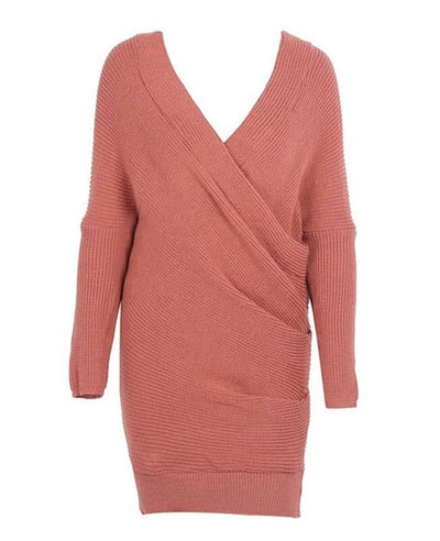 V-neck Long Sleeve Knit Dress-4