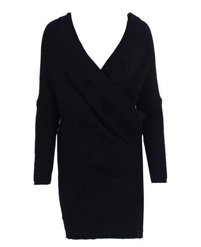 V-neck Long Sleeve Knit Dress-5