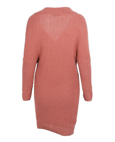 V-neck Long Sleeve Knit Dress-6