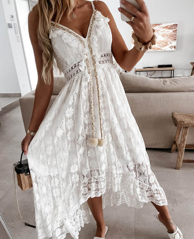 White Lace Dresses Beach Maxi Dress
