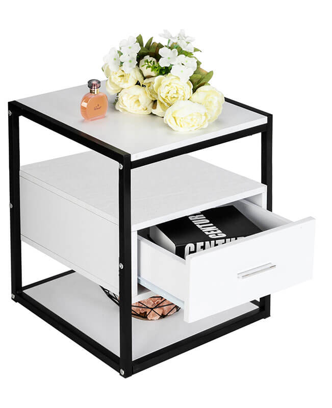 White Bedside Table With Drawer Bedroom End Tables