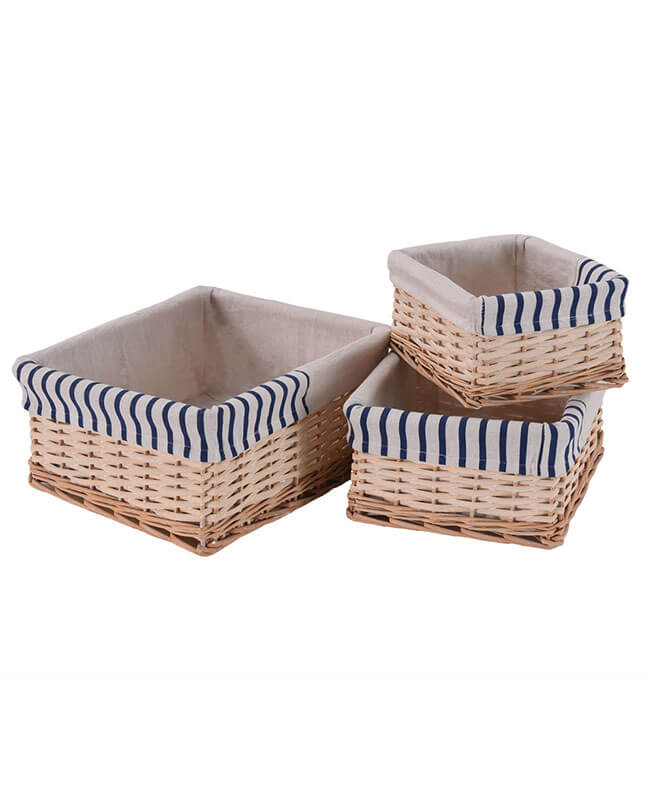 3PCS Wicker Storage Baskets Stackable Storage Bins