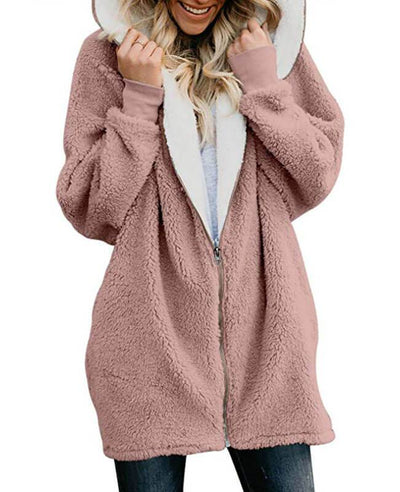 Zip Up Hooded Fluffy Coat